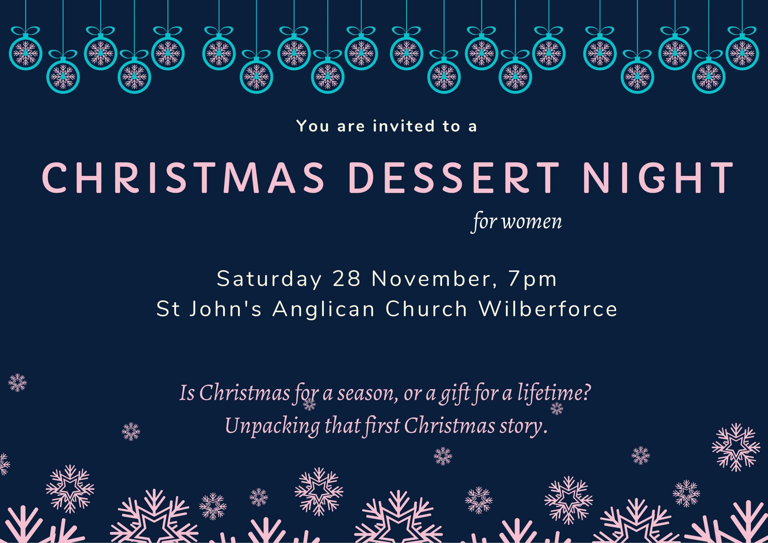 Women's Christmas Dessert Night Flyer - 28 November 2020