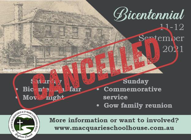 Macquarie Schoolhouse Bicentennial 2021 Cancelled